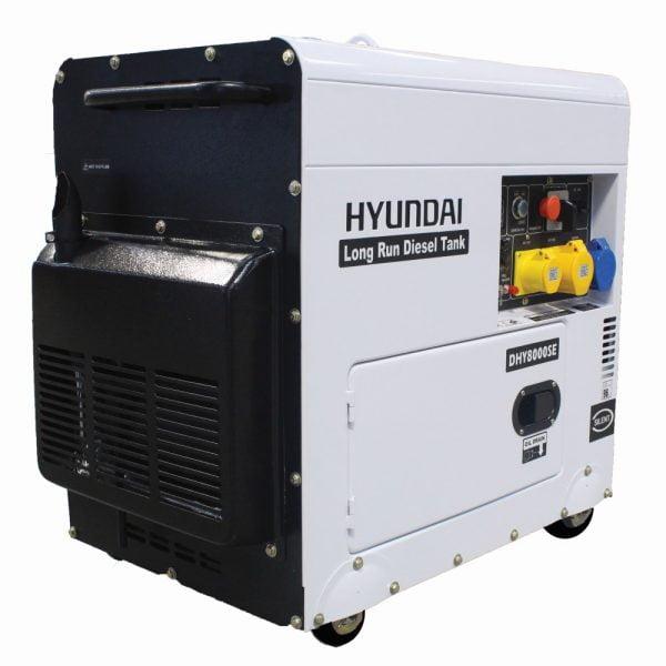 Hyundai DHY8000SELR Portable Diesel Generator Side View