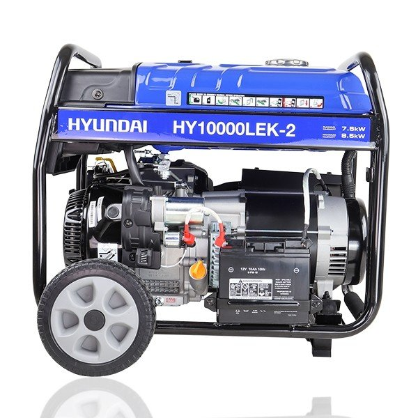 Hyundai HY10000LEK 2 8kW 10kVA Recoil & Electric Start Site Petrol Generator Side View Right