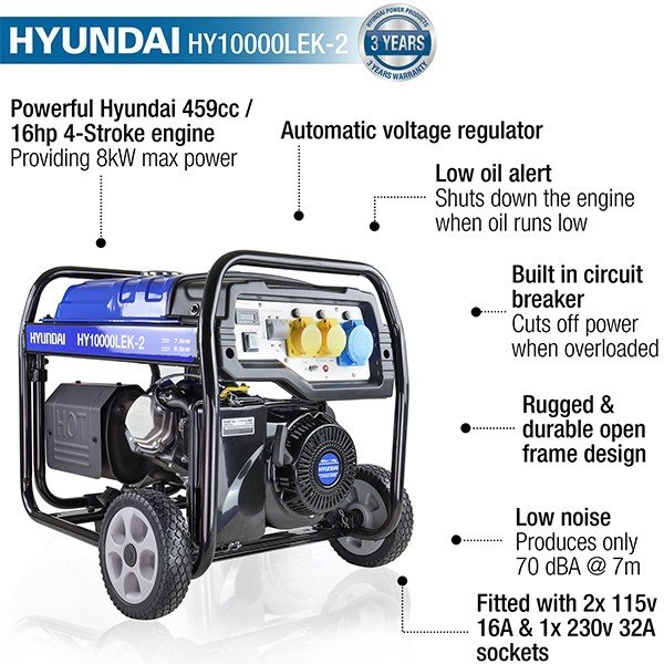 Hyundai HY10000LEK 2 8kW 10kVA Recoil & Electric Start Site Petrol Generator features