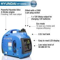 Hyundai HY1000Si Petrol Generator Features