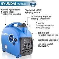 Hyundai HY2000Si 2000w Portable Petrol Inverter Generator features