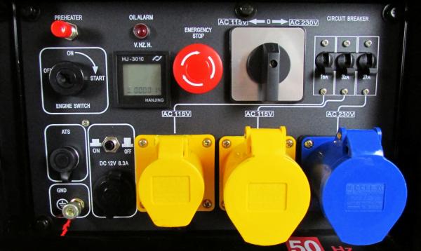 Portable diesel generator control panel