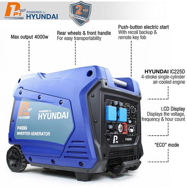 P1PE P4000i 3800W Portable Petrol Inverter Generator Features