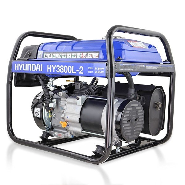 Hyundai HY3800L 2 3.2kW 4kVA Recoil Start Site Petrol Generator Side View Right