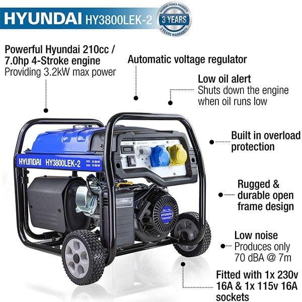Hyundai HY3800LEK 2 3.2kW 4.00kVA Electric Start Site Petrol Generator features
