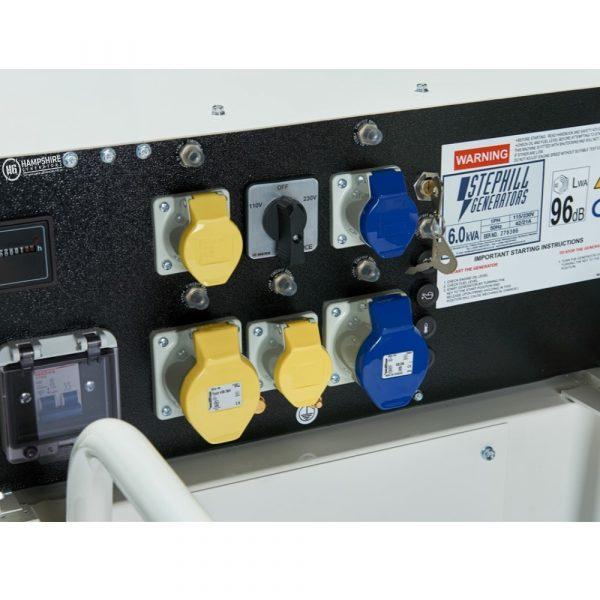 Stephill SE6000D4 6kVA Silenced Diesel Generator Sockets