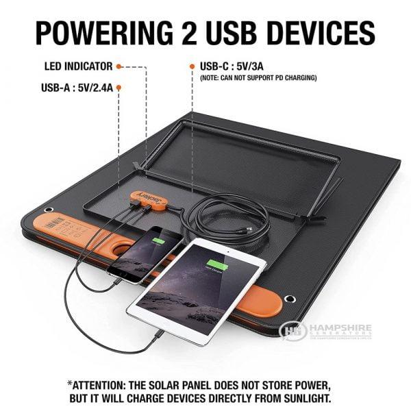 Jackery SolarSaga 100W Solar Panel Charging Ports